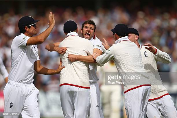 Mark Wood of England celebrates after taking the wicket of David Warner of Australia during day one of the 4th Investec Ashes Test match between...