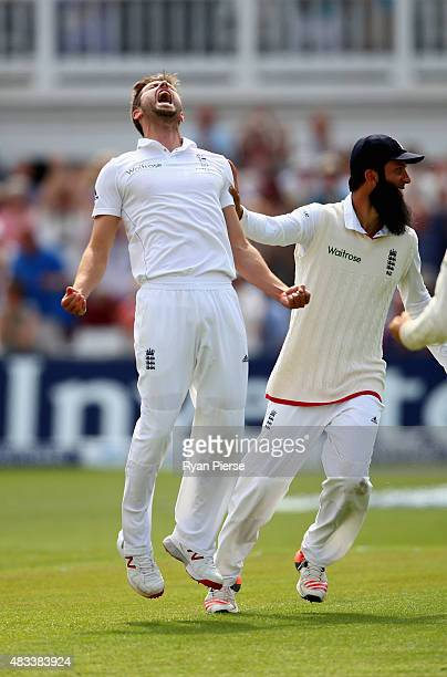 Mark Wood of England celebrates after taking the wicket of Nathan Lyon of Australia to reclaim the Ashes during day three of the 4th Investec Ashes...