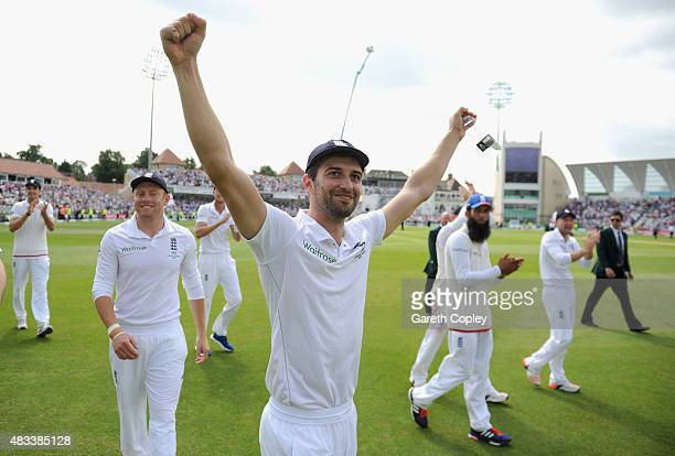Mark Wood of England celebrates after winning the 4th Investec Ashes Test match between England and Australia at Trent Bridge on August 8 2015 in...