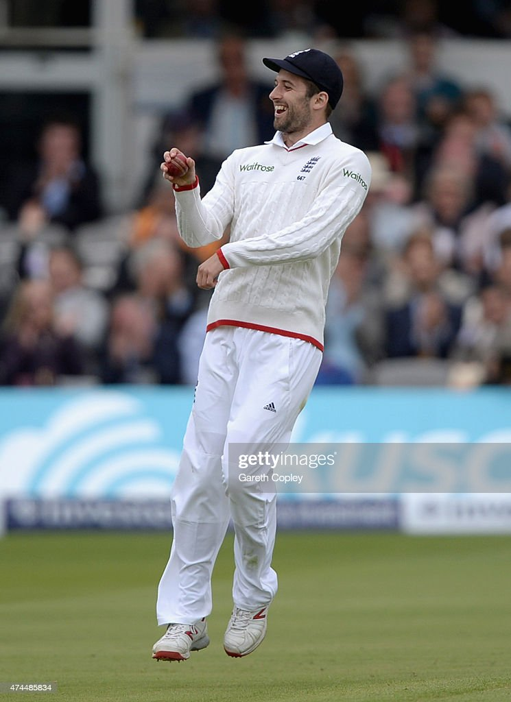 <a gi-track='captionPersonalityLinkClicked' href=/galleries/search?phrase=Mark+Wood+-+Cricket+Player&family=editorial&specificpeople=14645152 ng-click='$event.stopPropagation()'>Mark Wood</a> of England celebrates by riding a imaginary horse after catching out <a gi-track='captionPersonalityLinkClicked' href=/galleries/search?phrase=Tim+Southee&family=editorial&specificpeople=4205733 ng-click='$event.stopPropagation()'>Tim Southee</a> of New Zealand during day three of 1st Investec Test match between England and New Zealand at Lord's Cricket Ground on May 23, 2015 in London, England.