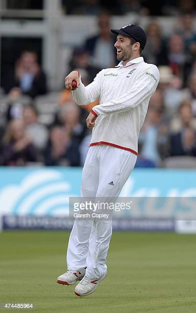 Mark Wood of England celebrates by riding a imaginary horse after catching out Tim Southee of New Zealand during day three of 1st Investec Test match...
