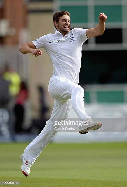 Mark Wood of England celebrates dismissing Australian captain Michael Clarke during day two of the 4th Investec Ashes Test match between England and...