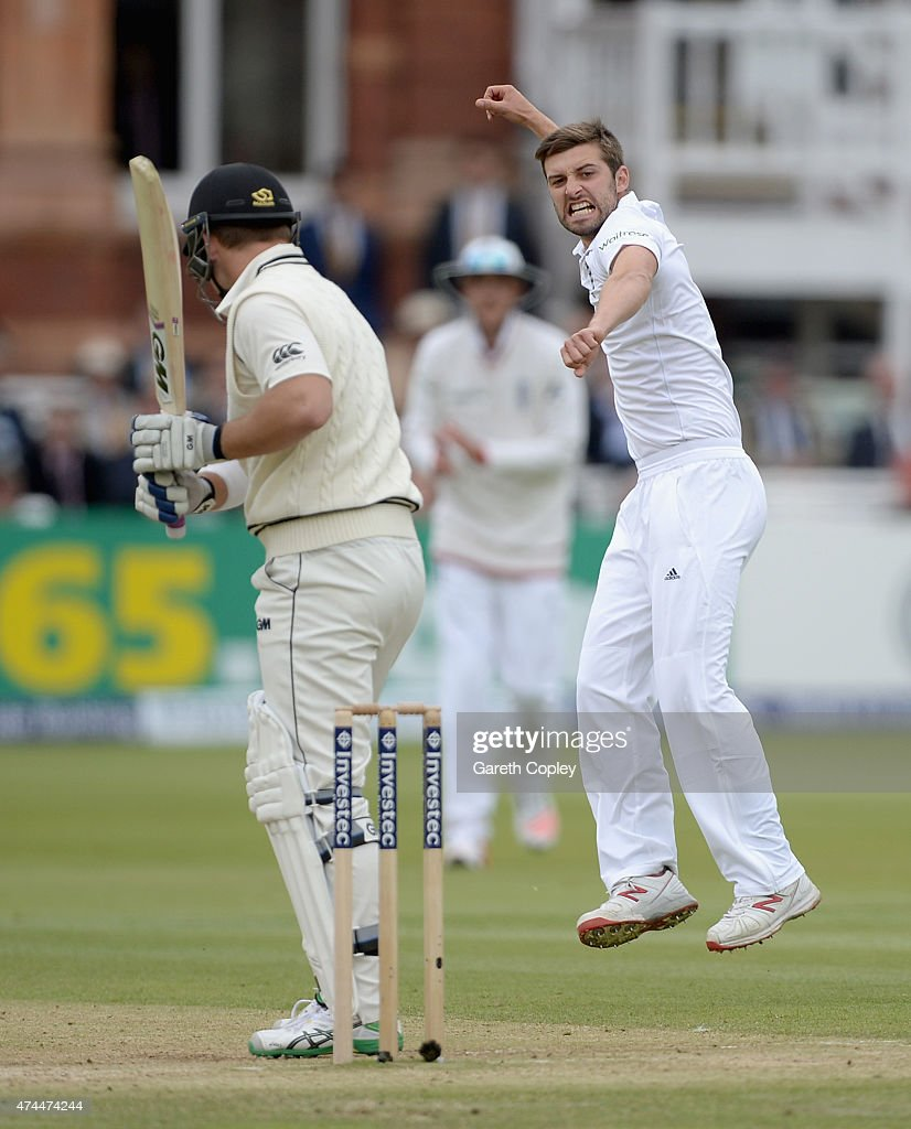 <a gi-track='captionPersonalityLinkClicked' href=/galleries/search?phrase=Mark+Wood+-+Cricketspeler&family=editorial&specificpeople=14645152 ng-click='$event.stopPropagation()'>Mark Wood</a> of England celebrates dismissing <a gi-track='captionPersonalityLinkClicked' href=/galleries/search?phrase=Corey+Anderson+-+Cricketspeler&family=editorial&specificpeople=12457249 ng-click='$event.stopPropagation()'>Corey Anderson</a> of New Zealand during day three of 1st Investec Test match between England and New Zealand at Lord's Cricket Ground on May 23, 2015 in London, England.