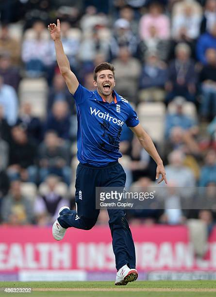 Mark Wood of England celebrates dismissing Glenn Maxwell of Australia during the 1st Royal London OneDay International match between England and...