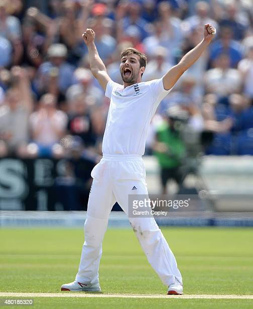 Mark Wood of England celebrates dismissing Nathan Lyon of Australia during day three of the 1st Investec Ashes Test match between England and...