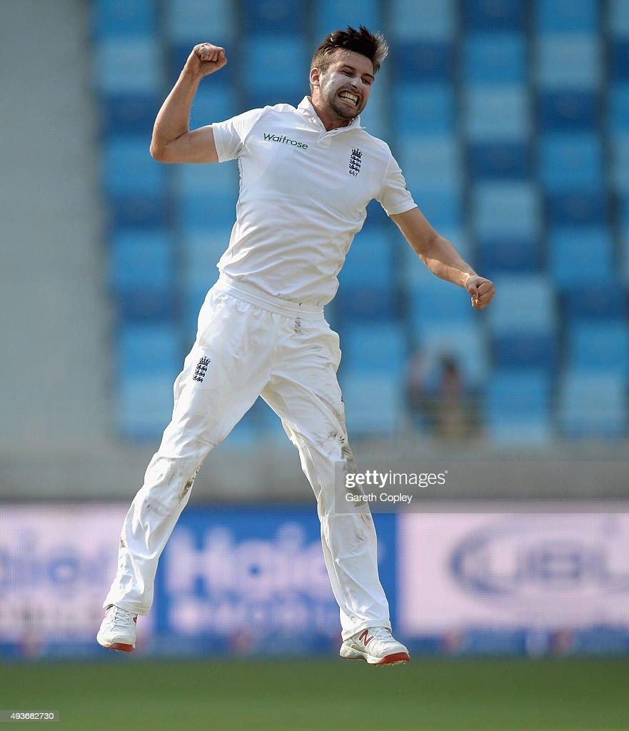 Mark Wood of England celebrates dismissing Younis Khan of Pakistan during the 2nd test match between Pakistan and England at Dubai Cricket Stadium on October 22, 2015 in Dubai, United Arab Emirates.