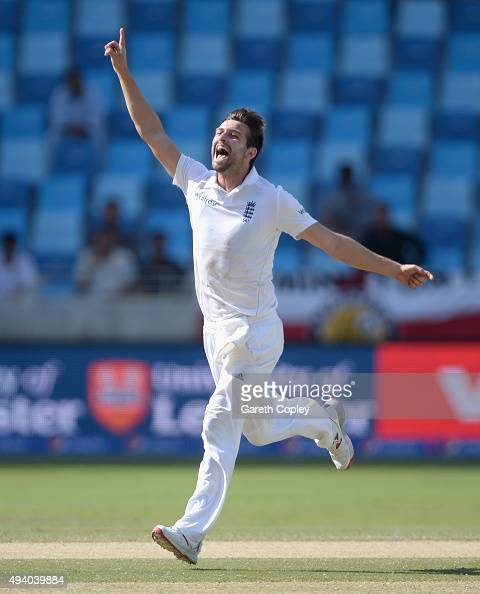 Mark Wood of England celebrates dismissing Younis Khan of Pakistan during day three of the 2nd test match between Pakistan and England at Dubai...