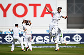 Mark Wood of England celebrates taking the final wicket to win the Ashes that of Nathan Lyon of Australia during day three of the 4th Investec Ashes...