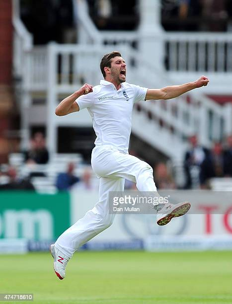 Mark Wood of England celebrates taking the wicket of BJ Watling of New Zealand during day five of the 1st Investec Test Match between England and New...