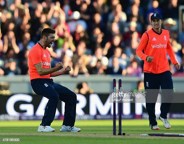 Mark Wood of England celebrates taking the wicket of Brendon McCullum of New Zealand during the NatWest International Twenty20 match between England...