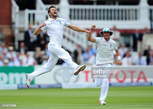 Mark Wood of England celebrates taking the wicket of Martin Guptill only to be denied his first test wicket due to a no ball during day two of the...