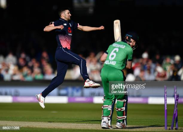 Mark Wood of England celebrates taking the wicket of William Porterfield of Ireland during the Royal London One Day International between England and...
