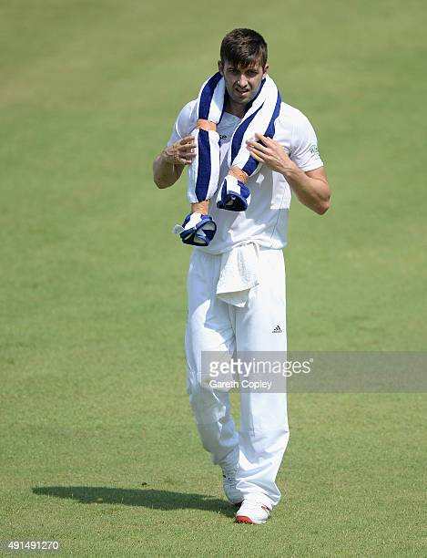 Mark Wood of England cools down during day two of the tour match between Pakistan A and England at Sharjah Cricket Stadium on October 6 2015 in...