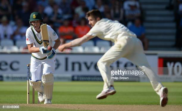 Mark Wood of England fails to stop the ball hit by Chris Morris of South Africa during the third day of the 2nd Investec Test match between England...