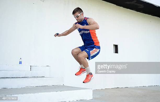 Mark Wood of England jumps during a fitness drill during a net session at Sharjah Cricket Stadium on October 4 2015 in Sharjah United Arab Emirates