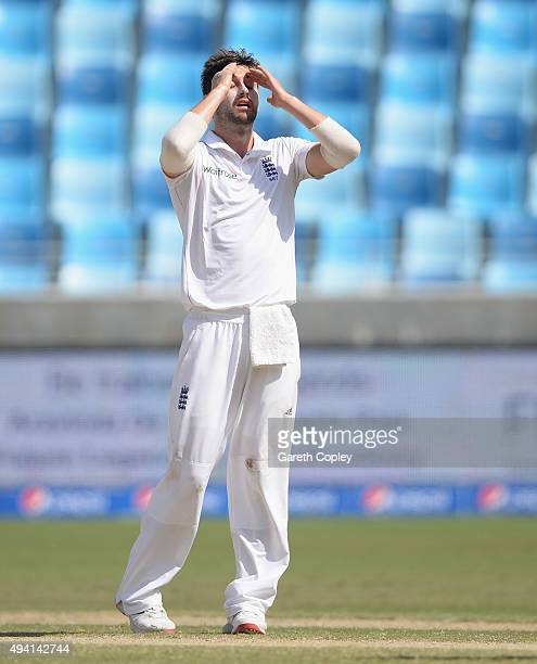 Mark Wood of England reacts after bowling during day four of the 2nd test match between Pakistan and England at Dubai Cricket Stadium on October 25...