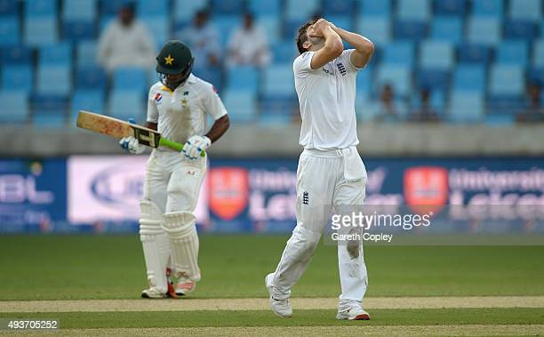 Mark Wood of England reacts during the 2nd test match between Pakistan and England at Dubai Cricket Stadium on October 22 2015 in Dubai United Arab...