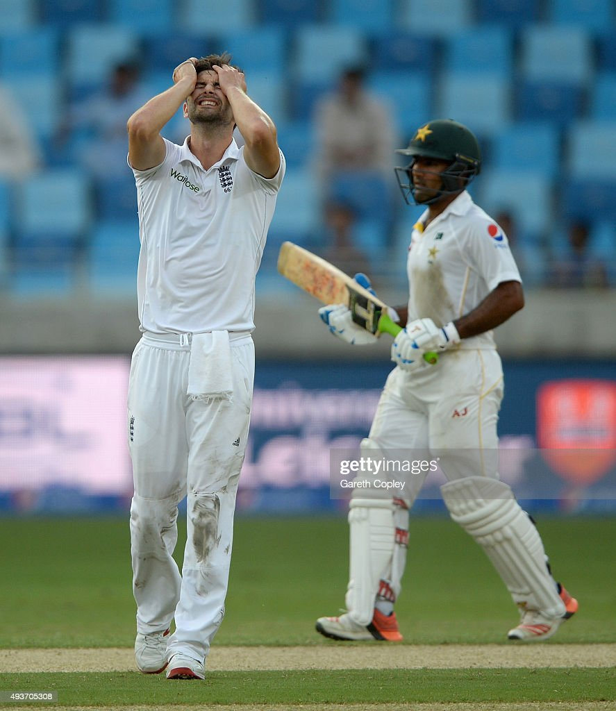 Mark Wood of England reacts during the 2nd test match between Pakistan and England at Dubai Cricket Stadium on October 22, 2015 in Dubai, United Arab Emirates.