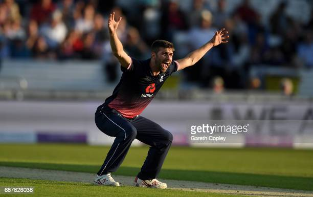 Mark wood of England successfully appeals for the wicket of Hashim Amla of South Africa during the 1st Royal London ODI match between England and...