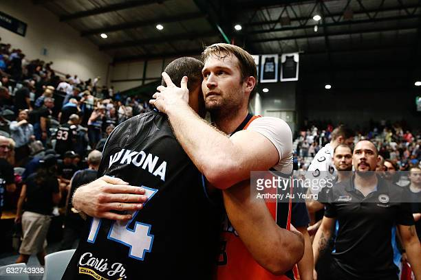 Mark Worthington of the Taipans and Mika Vukona of the Breakers acknowledge each other after the round 17 NBL match between the New Zealand Breakers...