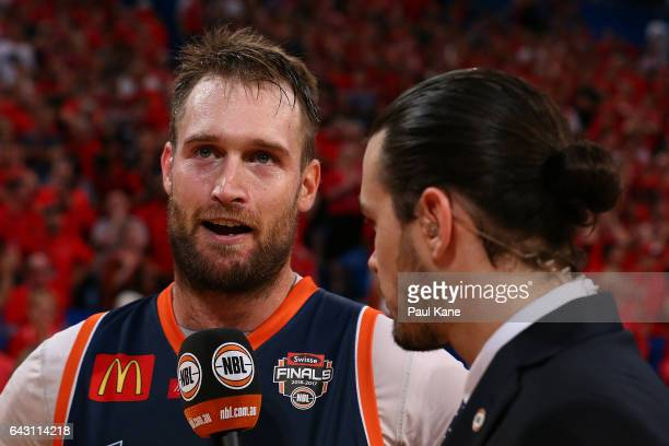 Mark Worthington of the Taipans is interviewed by Chris Goulding after being defeated and playing his final game during the game two NBL Semi Final...