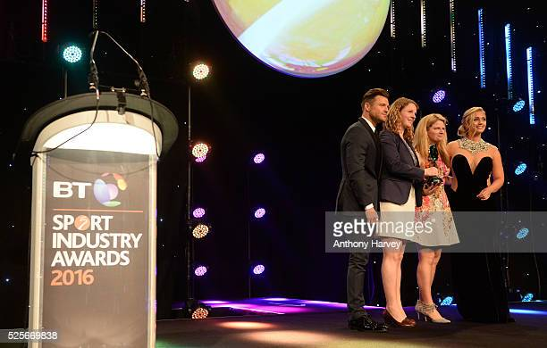 Mark Wright and Hayley McQueen present the Best Use of Social Media award to AELTC Wimbledon 2015 Sharing the Moments that Matter at the BT Sport...