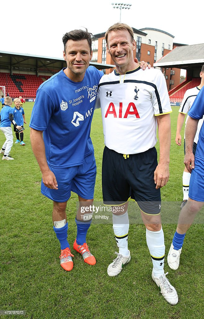 Mark wright and Teddy Sheringham attend a Charity football match in aid of St Joseph's Hospice and Haven House Children's Hospice at Leyton Orient Matchroom Stadium on May 17, 2015 in London, England.