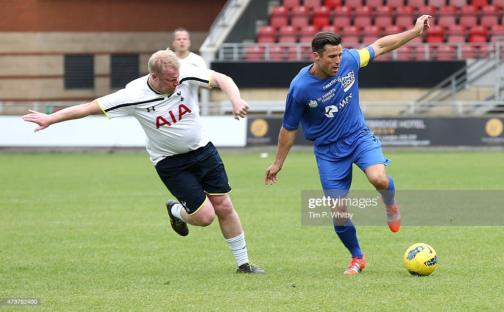 Mark Wright playing at a Charity football match in aid of St Joseph's Hospice and Haven House Children's Hospice at Leyton Orient Matchroom Stadium on May 17, 2015 in London, England.