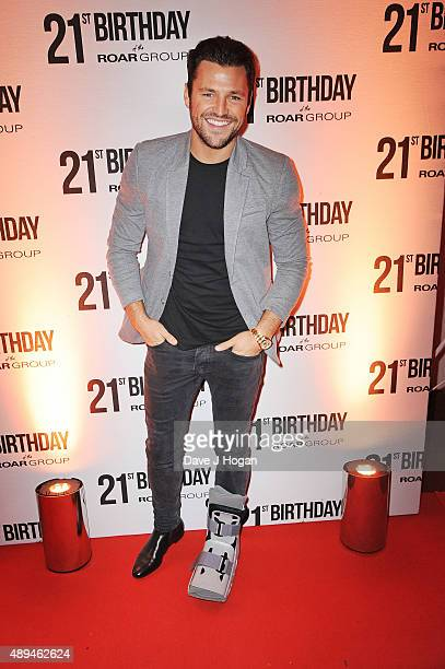 Mark Wright with broken foot from playing football attends 21st Birthday Celebration of the ROAR Group at Avenue on September 21 2015 in London...