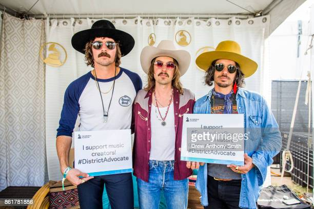 Mark Wystrach Jess Carson and Cameron Duddy of Midland pose for a portrait during day three of the Austin City Limits Music Festival on October 15...