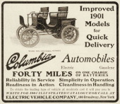A Mark XIX Columbia Surrey electric automobile is pictured in a magazine advertisement from 1901 The ad states the vehicle is able to travel 'forty...