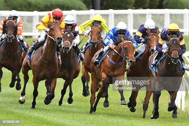 Mark Zahra riding Cao Cao winning Race 2 during Melbourne racing at Moonee Valley Racecourse on November 26 2016 in Melbourne Australia
