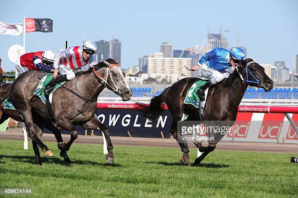 Mark Zahra riding Fontein Ruby defeats Dwayne Dunn riding Maastricht in Race 6 the TAB Edward Manifold Stakes during Turnbull Stakes Day at...