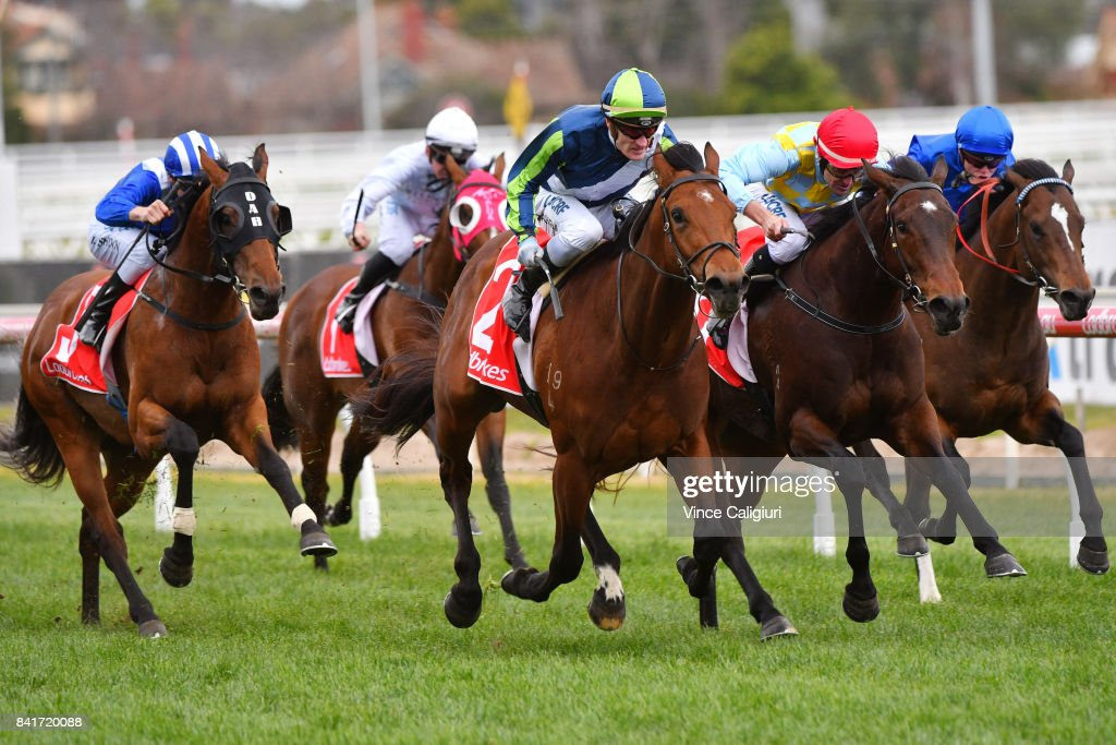 Mark Zahra riding Merchant Navy defeats Dwayne Dunn riding Booker (r) in Race 4, McNeil Stakes during Melbourne Racing at Caulfield Racecourse on September 2, 2017 in Melbourne, Australia.