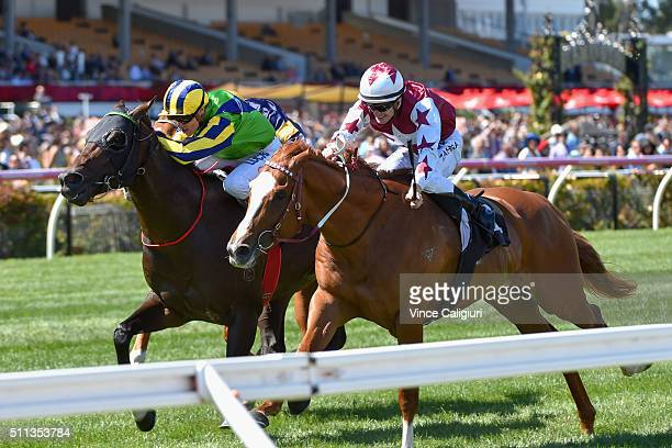Mark Zahra riding Palentino defeats Craig Williams riding Tivaci but loses race on protest in Race 4 the CS Hayes Stakes during Black Caviar...