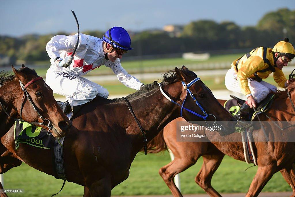 Mark Zahra riding Warrior King winning Race 9, during Galleywood Day at Warrnambool Racing Club on May 6, 2015 in Warrnambool, Australia.