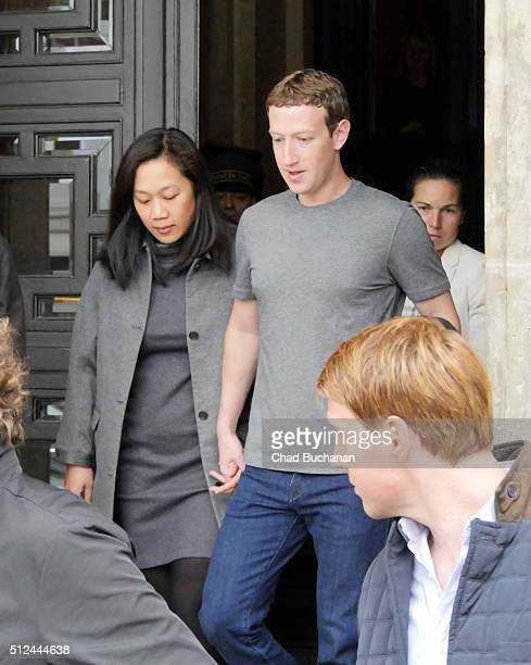 Mark Zuckerberg and his wife Priscilla Chan sighted on February 26 2016 in Berlin Germany