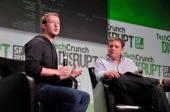 Mark Zuckerberg and Michael Arrington attend Day 3 of TechCrunch Disrupt SF 2013 at San Francisco Design Center on September 11 2013 in San Francisco...