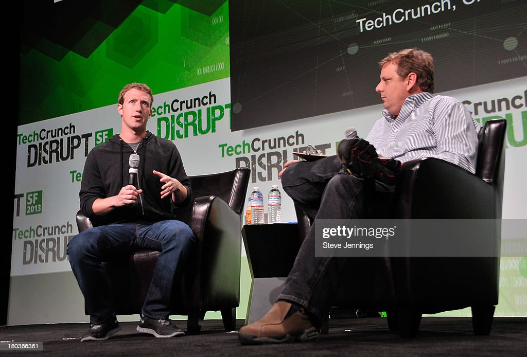 Mark Zuckerberg and Michael Arrington (L-R) attend Day 3 of TechCrunch Disrupt SF 2013 at San Francisco Design Center on September 11, 2013 in San Francisco, California.
