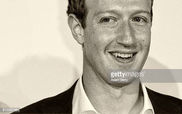 Mark Zuckerberg arrives for the presentation of the first Axel Springer Award on February 25 2016 in Berlin Germany
