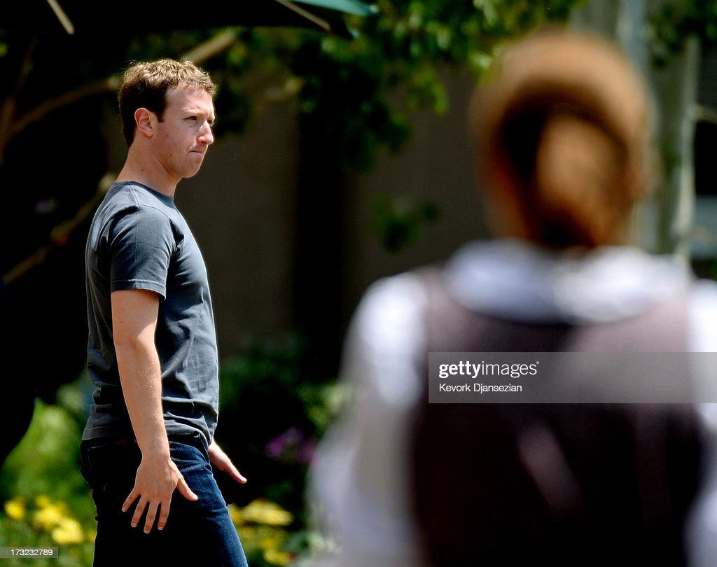 Mark Zuckerberg, chairman and chief executive of Facebook, Inc., arrives for the Allen & Co. annual conference at the Sun Valley Resort on July 10, 2013 in Sun Valley, Idaho. The resort is hosting corporate leaders for the 31st annual Allen & Co. media and technology conference where some of the wealthiest and most powerful executives in media, finance, politics and tech gather for weeklong meetings. Past attendees included Warren Buffett, Bill Gates and Mark Zuckerberg.