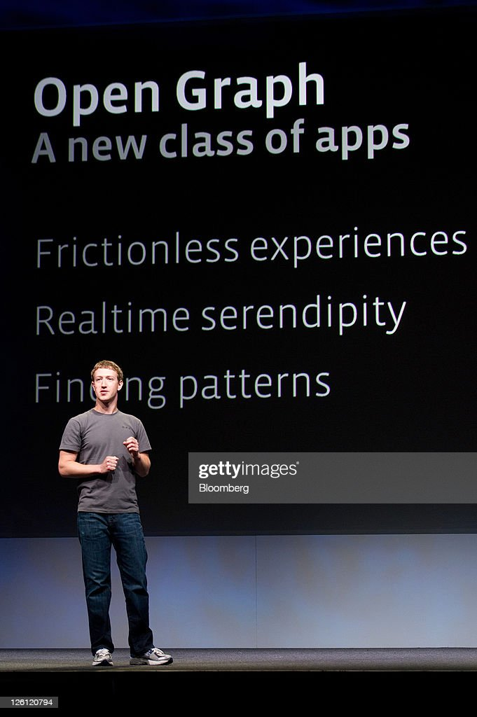 <a gi-track='captionPersonalityLinkClicked' href=/galleries/search?phrase=Mark+Zuckerberg&family=editorial&specificpeople=4841191 ng-click='$event.stopPropagation()'>Mark Zuckerberg</a>, chief executive officer and founder of Facebook Inc., speaks at Facebook's F8 developers conference in San Francisco, California, U.S., on Thursday, Sept. 22, 2011. Zuckerberg unveiled new features that will let users share music, movies and TV shows through the social network's website. Photographer: David Paul Morris/Bloomberg via Getty Images