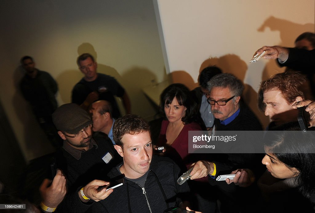 Mark Zuckerberg, chief executive officer and founder of Facebook Inc., speaks with journalists after introducing Graph Search at Facebook headquarters in Menlo Park, California, U.S., on Tuesday, Jan. 15, 2013. Facebook Inc. introduced a search tool for its social network of more than 1 billion users, seeking to improve features to attact more users and advertisers. Photographer: Noah Berger/Bloomberg via Getty Images