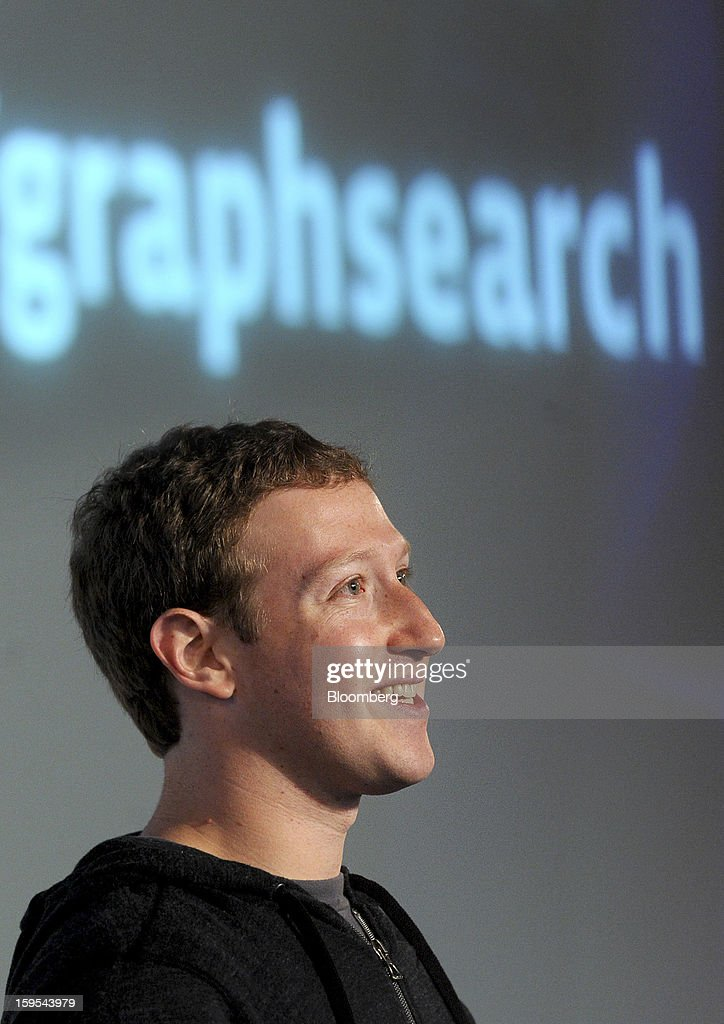 <a gi-track='captionPersonalityLinkClicked' href=/galleries/search?phrase=Mark+Zuckerberg&family=editorial&specificpeople=4841191 ng-click='$event.stopPropagation()'>Mark Zuckerberg</a>, chief executive officer and founder of Facebook Inc., introduces Graph Search at Facebook headquarters in Menlo Park, California, U.S., on Tuesday, Jan. 15, 2013. Facebook Inc. introduced a search tool for its social network of more than 1 billion users, seeking to improve features to attact more users and advertisers. Photographer: Noah Berger/Bloomberg via Getty Images
