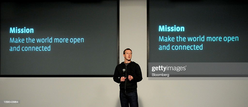 Mark Zuckerberg, chief executive officer and founder of Facebook Inc., introduces Graph Search at Facebook headquarters in Menlo Park, California, U.S., on Tuesday, Jan. 15, 2013. Facebook Inc. introduced a search tool for its social network of more than 1 billion users, seeking to improve features to attact more users and advertisers. Photographer: Noah Berger/Bloomberg via Getty Images