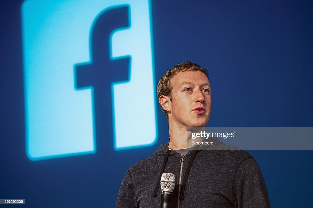 Mark Zuckerberg chief executive officer and founder of Facebook Inc speaks during an event at the company's headquarters in Menlo Park California US...