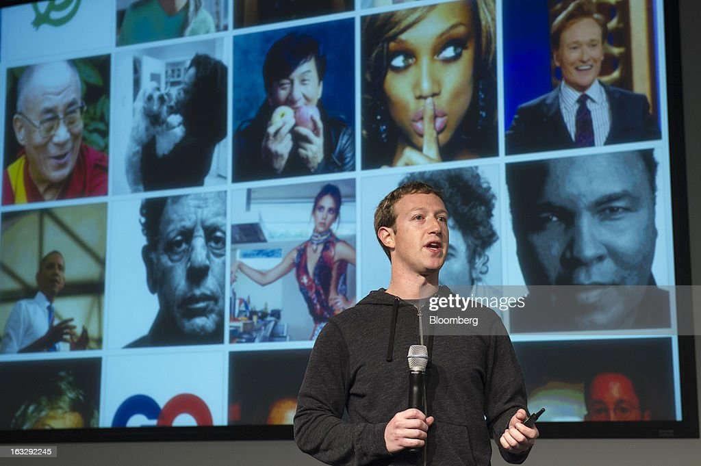 Mark Zuckerberg, chief executive officer and founder of Facebook Inc., speaks during an event at the company's headquarters in Menlo Park, California, U.S., on Thursday, March 7, 2013. Zuckerberg discussed the social-network site's upgraded News Feed which includes bigger photos, information sorted into topics and a more consistent design across devices. Photographer: David Paul Morris/Bloomberg via Getty Images