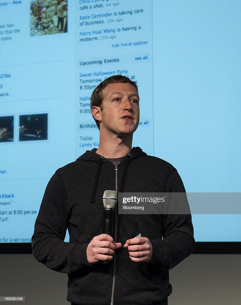 <a gi-track='captionPersonalityLinkClicked' href=/galleries/search?phrase=Mark+Zuckerberg&family=editorial&specificpeople=4841191 ng-click='$event.stopPropagation()'>Mark Zuckerberg</a>, chief executive officer and founder of Facebook Inc., speaks during an event at the company's headquarters in Menlo Park, California, U.S., on Thursday, March 7, 2013. Zuckerberg discussed the social-network site's upgraded News Feed which includes bigger photos, information sorted into topics and a more consistent design across devices. Photographer: David Paul Morris/Bloomberg via Getty Images