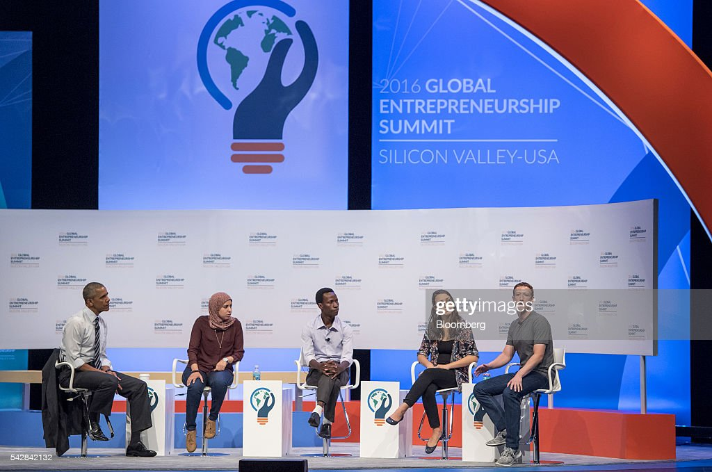 Mark Zuckerberg, chief executive officer and founder of Facebook Inc., right, speaks as U.S. President <a gi-track='captionPersonalityLinkClicked' href=/galleries/search?phrase=Barack+Obama&family=editorial&specificpeople=203260 ng-click='$event.stopPropagation()'>Barack Obama</a>, from left, Mai Medhat, chief executive officer and founder of Eventtus, Jean Bosco Nzeyimana, founder and chief executive officer of Habona Ltd., and Mariana Costa Checa, founder of Laboratoria, listen during the 2016 Global Entrepreneurship Summit (GES) at Stanford University in Stanford, California, U.S., on Friday, June 24, 2016. The annual event brings together entrepreneurs from around the world for 3 days of networking, workshops and conferences. Photographer: David Paul Morris/Bloomberg via Getty Images