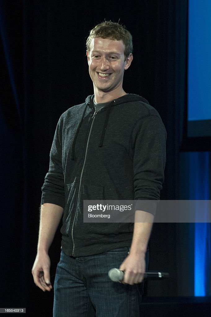 Mark Zuckerberg, chief executive officer of Facebook Inc., smiles during an event in Menlo Park, California, U.S., on Thursday, April 4, 2013. Facebook unveiled smartphone software called Home that puts social-networking features front and center on a handset, stepping up efforts to boost sales of advertising on small screens. Photographer: David Paul Morris/Bloomberg via Getty Images